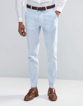 Asos Design Skinny Smart Pants In Linen Mix