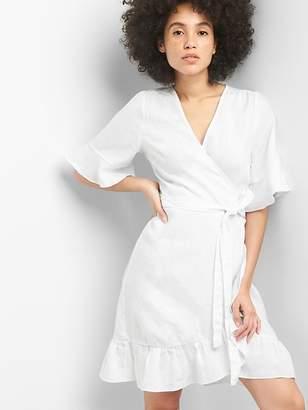 Gap Ruffle Wrap Dress in Linen-Cotton