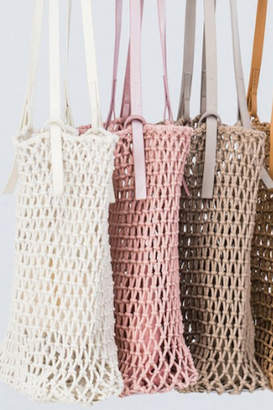Trend:Notes Fish Net Boho Bag w/ Leather Detail