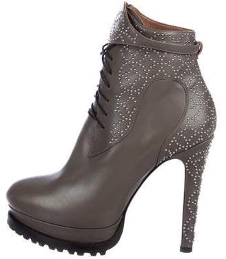 Alaia Studded Leather Platform Ankle Boots