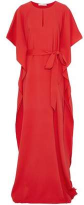 Oscar de la Renta Belted Silk-Crepe Gown