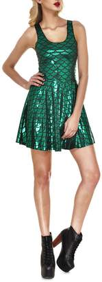 Lady Queen Women's Mermaid Scales Scoop Skater Dress Clubwear Ball Party Skirt M