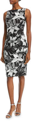 Michael Kors High-Neck Sleeveless Floral-Print Sheath Cocktail Dress