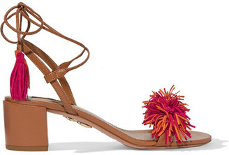 Aquazzura - Wild Thing Fringed Suede And Leather Sandals - Light brown $785 thestylecure.com