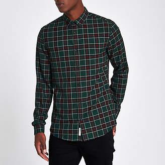 River Island Mens Green check long sleeve shirt