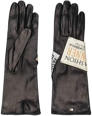 Dolce & Gabbana logo patch long gloves