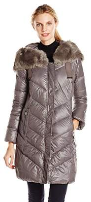 T Tahari Women's Outerwear Austin Down Coat with Faux Fur Hood