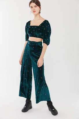 Urban Outfitters Perla Embellished Velvet Wide Leg Pant