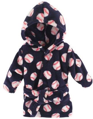 Luvable Friends Baby Coral Fleece Bathrobe, Baseball