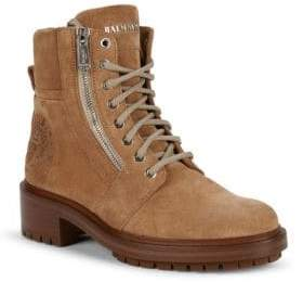 Balmain Crest Embossed Suede Hiking Boots
