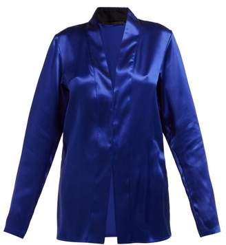 8f98250ab3824f Haider Ackermann Dali Shawl Collar Silk Blouse - Womens - Dark Blue