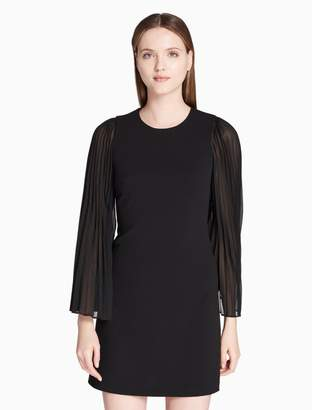 Calvin Klein pleated sheer sleeve jersey dress