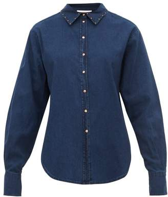 See by Chloe Studded Cotton Chambray Shirt - Womens - Denim