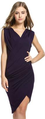 DAY Birger et Mikkelsen ANGVNS Women V Neck Faux Wrap Ruched Night Dress for Juniors(,M)