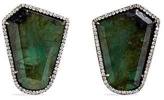 Monique Péan 'Atelier' emerald diamond 18k recycled white gold earrings