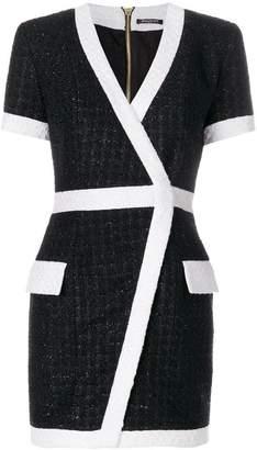 Balmain bouclé tweed mini wrap dress