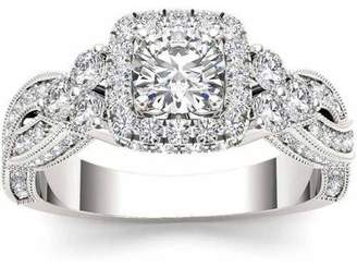 Imperial Diamond Imperial 1-1/2 Carat T.W. Diamond Criss-Cross Shank Single Halo 14kt White Gold Engagement Ring