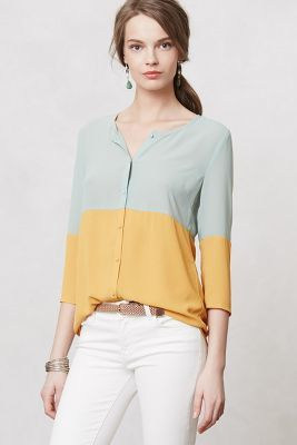 Anthropologie Sunday in Brooklyn Colorblocked Ione Buttondown