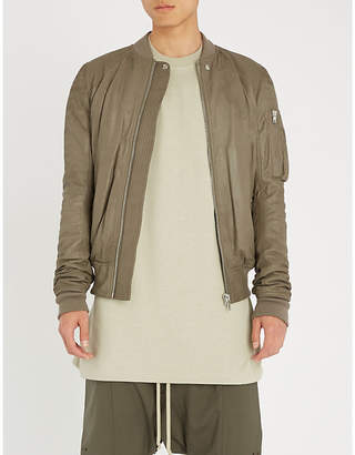 Rick Owens Knitted-trims leather bomber jacket