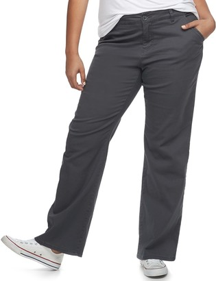UNIONBAY Juniors' Plus Size Uniform Heather Twill Bootcut Pants