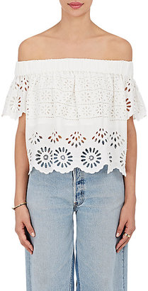 Sea Women's Cotton Eyelet Off-The-Shoulder Crop Top $325 thestylecure.com