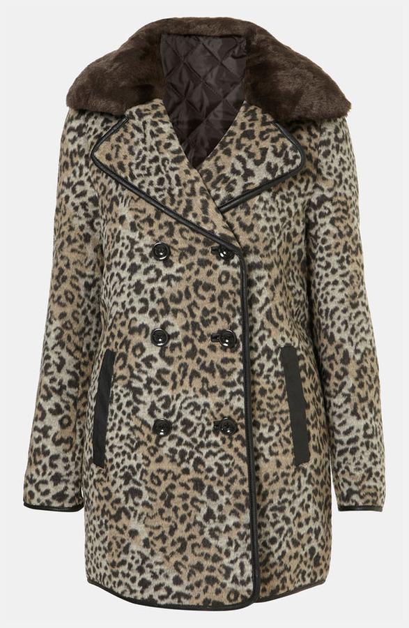 Topshop 'Karin' Faux Leopard Fur Coat