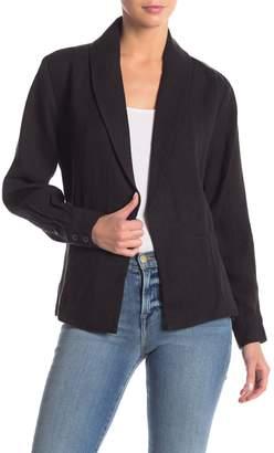 Frame Solid Front Pocket Linen Blazer