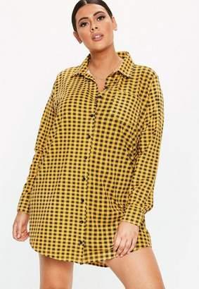 Missguided Plus Size Yellow Plaid Jersey Shirt Dress