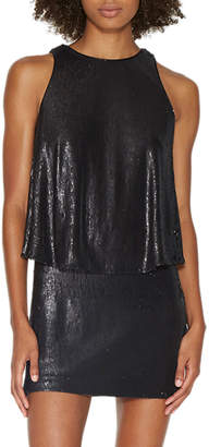 Halston Sleeveless Sequined Mini Dress