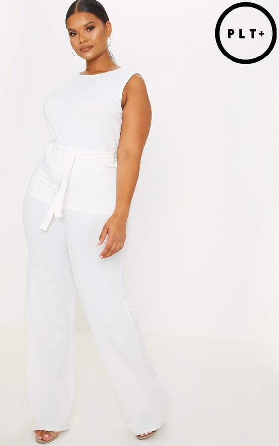 Plus Cream Rib Wide Leg Trouser