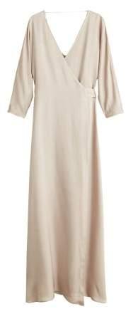 Wrapped satin dress