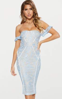 PrettyLittleThing Dusty Blue Lace Binding Detail Bardot Midi Dress