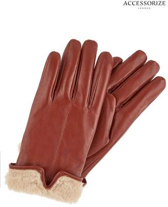 Accessorize Womens Tan Faux Fur Leather Gloves - Natural