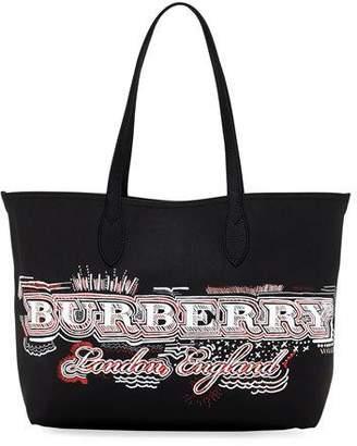 Burberry Logo Sketchbook Series Medium Tote Bag, Black Pattern