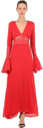 Pink Memories Long Crepe & Lace Dress