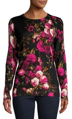 Lord & Taylor Petite Long-Sleeve Floral Merino Wool Sweater