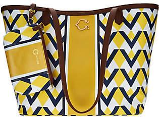 C. WonderC. Wonder Graphic Geo Stripe Print Large Tote Handbag w/Pouch