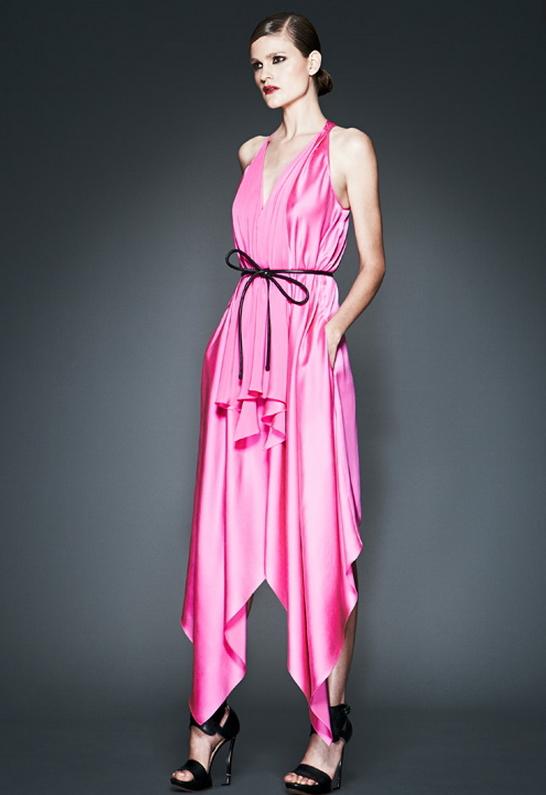 Robert Rodriguez Handkerchief Dress in Hot Pink -