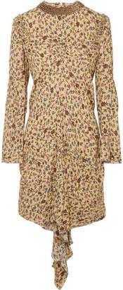 Chloé Embellished Ruffled Floral-print Georgette Mini Dress - Neutral