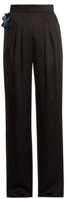 Christopher Kane Embellished Flower Satin Trousers - Womens - Black