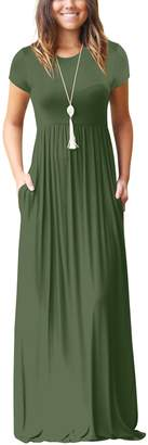 Freemale Womens Short Sleeve Crewneck Solid Casual Long Maxi Dress with Pockets (, L)