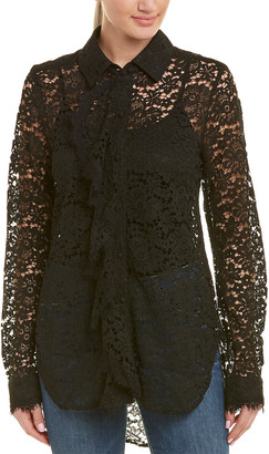 Three Dots Floral Lace Button Up Tunic