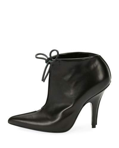 TOM FORD Open-Front Self-Tie Bootie, Black