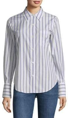 Theory Long-Sleeve Striped Cotton Button-Down Shirt