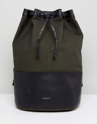 SANDQVIST Gita Duffle Backpack in Cotton Canvas and Leather Mix