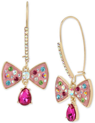 Betsey Johnson Betsey Johnston Gold-Tone Stone & Enamel Bow Drop Earrings