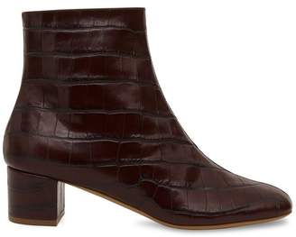 Mansur Gavriel Croc Embossed 40Mm Ankle Boot - Classic