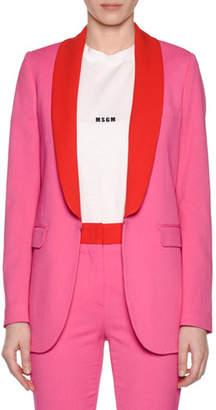 MSGM Shawl-Collar Hook-Front Blazer