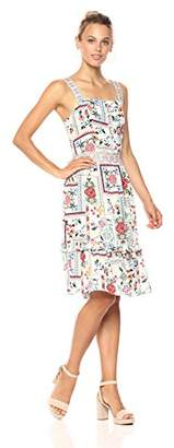 Ella Moon Women's Lindsey Embroidered Apron Strap Ruffle Hem Midi Dress