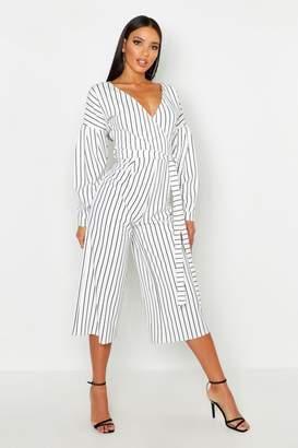 b2803497d74 boohoo Striped Off The Shoulder Culotte Jumpsuit